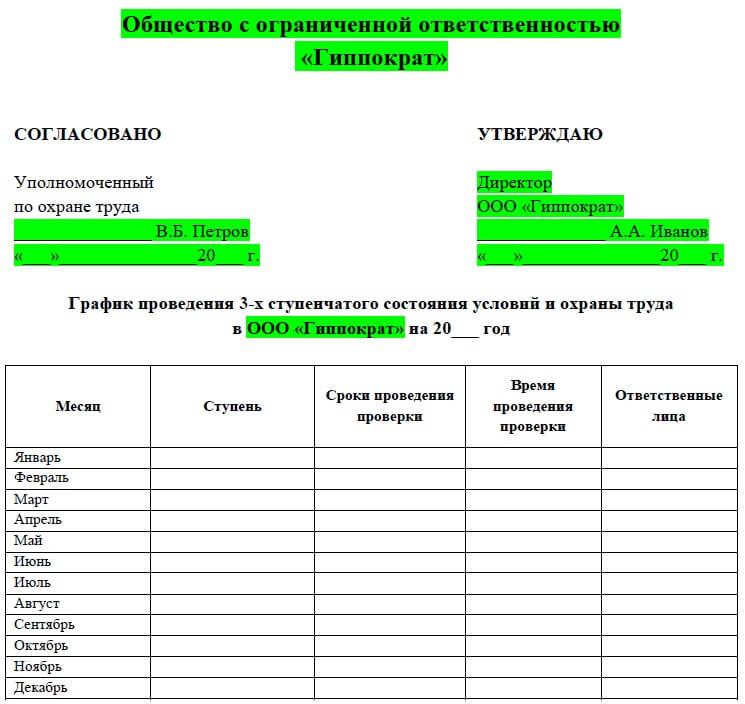 Форма графика контроля состояния и условий охраны труда