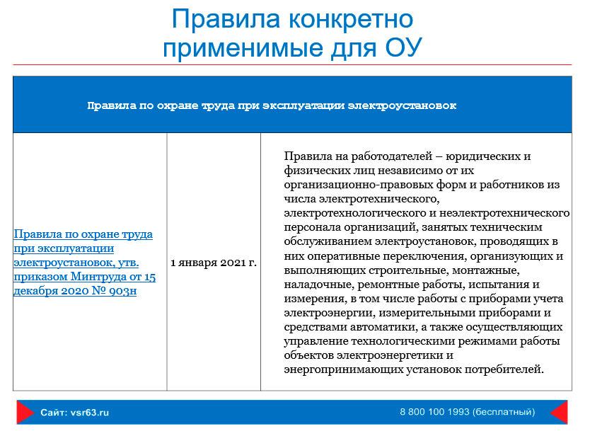 Правила конкретно применимые для ОУ - эксплуатация электроустановок